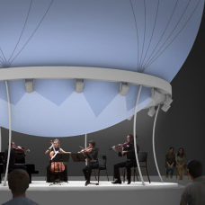 A concept rendering for an air filled balloon floating above the campus that would be hauled down to create a cover for outdoor concerts.