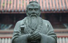 Photo of a statue of Confucius.
