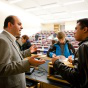 Professor talking with a student.